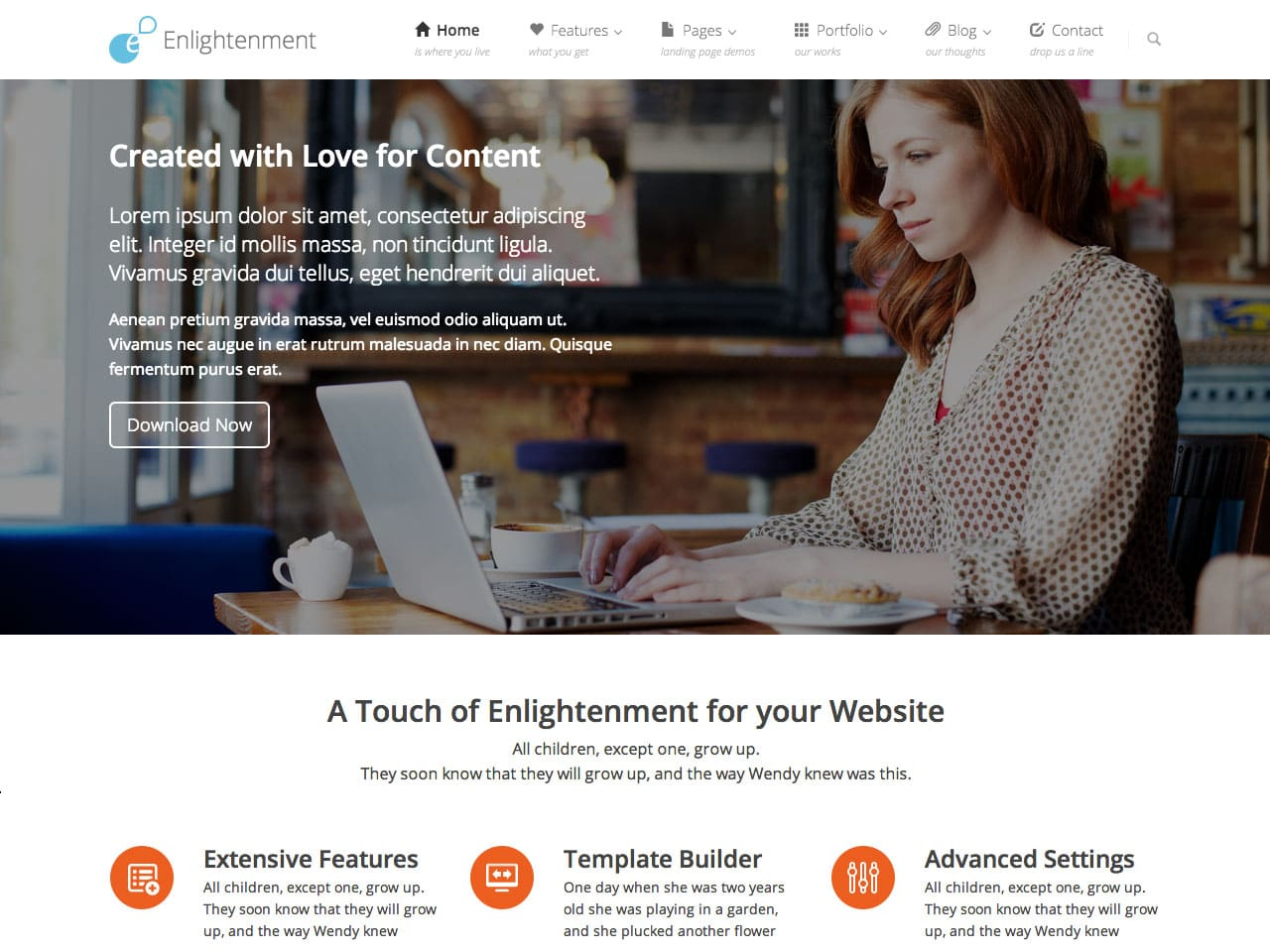 Enlightenment wordpress theme